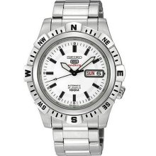 Japan Seiko 5 Mens White Dial Analog World Time Automatic Sports Watch Srp135j1