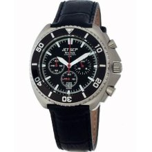 Jet Set Mens New York Stainless Watch - Black Leather Strap - Black Dial - JETJ11802-237
