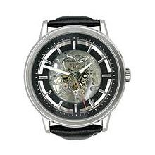 Kenneth Cole Mens New York Automatic Stainless Watch - Black Leather Strap - Skeleton Dial - KC1631