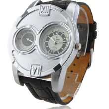 Litb9201 Men's Quartz Analog Wrist Watch Dual Dial Black Leather Band