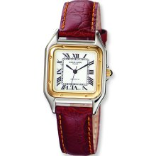 Mens Charles Hubert Leather Band White Dial Retro 29 mm Watch