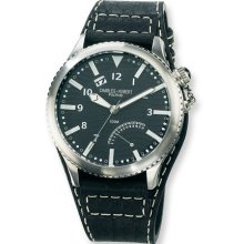 Mens Charles Hubert Leather Band Stainless Steel Black Dial Watch No. 3741-B