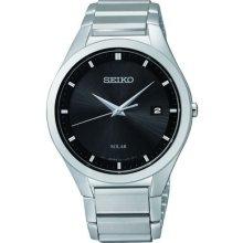 Men's Seiko Solar Quartz Sne241 Date Black Dial Stainless Steel Watch