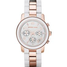 Michael Kors Ladies Rose Gold Two Tone Quartz Chronograph Silver Tone Dial White Silicone Link Bracelet MK5464
