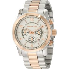 Michael Kors Ladies Two Tone Stainless Steel Case and Bracelet Chronograph Silver Dial MK8176