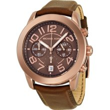 Michael Kors Mercer Chrono Chocolate Dial Rose Gold-Tone Ladies Watch