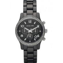 Michael Kors Womens Runway Black Ceramic Glitz Chronograph Watch Mk5470