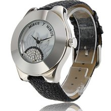 Movement Japan PC Silver Shell White Dial Inlay Czech Diamond Black Genuine Leather Watch