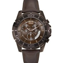 New MARC ECKO UNLTD Chronograph Mens Analog Watch Brown Leather Band Quartz