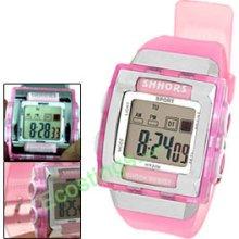 Pink Digital Sports Alarm Wrist Watch Stopwatch for Girls