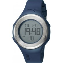 Puma Loop Steel Unisex Digital Watch With Lcd Dial Digital Display And Blue Plastic Or Pu Strap Pu910981003
