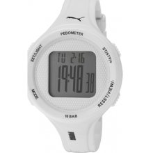 Puma Step Unisex Digital Watch With White Dial Digital Display And White Pu Strap Pu911042002