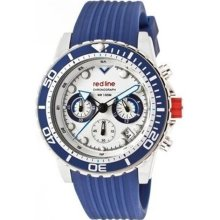 Red Line Men's Piston Chronograph Silicone Round Watch Dial/Strap Color: Silver/Blue, Marker Color: Silver, Hand Color: Blue, black/blue and black/black