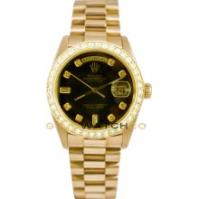 Rolex Mens 18K Yellow Gold President Day Date Model 18038 Custom Added Black Diamond Dial & 2Ct Diamond Bezel