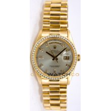 Rolex Mens 18K Yellow Gold President Day Date Model 18238 Custom Added Silver Diamond Dial & Diamond Bezel