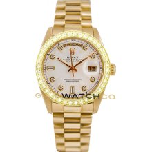 Rolex Mens 18K Yellow Gold President Day Date Model 18038 Custom Added White Diamond Dial & 2Ct Diamond Bezel