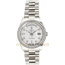 Rolex Mens New Style Heavy Band President Day Date Model 118239 With A Custom Added White Diamond Dial & Diamond Bezel