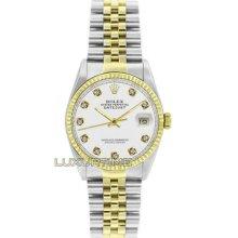 Rolex Mens Watch Ss & Gold Datejust 16013 White Diamond Dial 18k Gold Bezel Mint