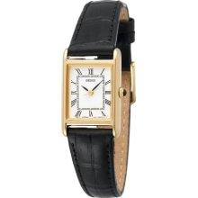 Seiko Gold-tone Black Leather Strap Ladies Watch SXGN42