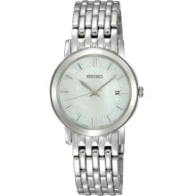Seiko Ladies Quartz Analogue Watch Sxdb93p1 With Stainless Steel Bracelet And White Mop Dial