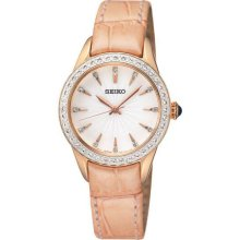 Seiko Ladies Rose Gold Tone Stainless Steel Case Leather Strap White Dial Crystals SRZ388