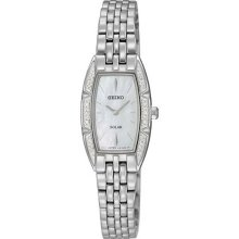 Seiko Ladies Stainless Steel Case Solar Quartz Mother of Pearl Dial Swarovski Crystals SUP151