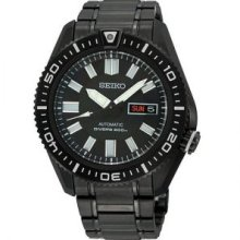 Seiko Men's Automatic Diver SKZ329 Black Stainless-Steel Automatic Watch with Black Dial