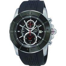 Seiko Snac99 Men's Black Rubber Strap Sports Chronograph Alarm Watch