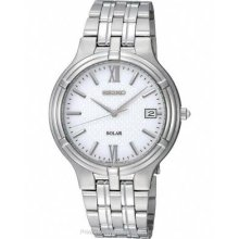 Seiko Solar Mens Stainless Steel Date Watch - Silver/White Dial SNE025