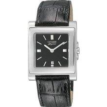 Silver Squre Black Dial Leather Band Quartz Citizen Qd0181-01e Wrist Watch Dress