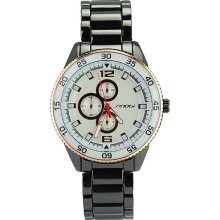 SINOBI Stylish fashion Stainless Waterproof Quartz Wrist Watch - White Dial - Silver - Metal - 3