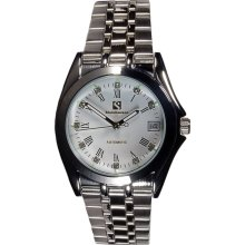 Steinhausen Men's Metal Automatic Date White Dial Watch (silver)