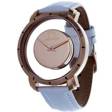 Steinhausen Mens Stainless Steel Floating Quartz Rose Gold Dial Watch with Lizard Grain Leather Band (Rose Gold/White)