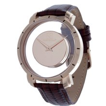 Steinhausen Mens Stainless Steel Floating Quartz Rose Gold Dial Watch with Lizard Grain Leather Band (Rose Gold/Brown)