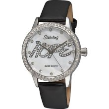 Stuhrling 519h 11157 Hope Swarovski White Mop Black Leather Womens Watch