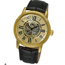 Stuhrling Original 1077.333531 Mens Classic Delphi Venezia Automatic Skeleton with Gold Tone Case on Black Leather Strap and Goldtone Dial