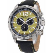 Stuhrling Original 210A.331518 Mens Concorso Chronograph Swiss Quartz Stainless Steel Case with Yellow Dial on Black Leather Strap