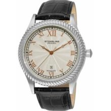 Stuhrling Original 91C.33152 Mens Classic Juliet Slim Swiss Quartz with Stainless Steel Case Silver Dial and Black Leather Strap Watch