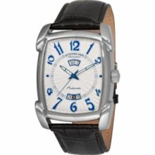 Stuhrling Original 98XL.33152 Mens Classic Manchester Ozzie Xl Slim Swiss Quartz with Stainless Steel Case Silver Dial and Black Leather Strap Watch