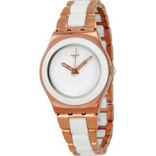 Swatch Rose Pearl White Dial Rose Gold-tone Stainless Steel Ladies Watch Ylg121g