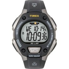 Timex Silver Steel T5E9019J Men'S T5E901 Ironman Traditional 30-Lap Gray Black Resin Strap Watch