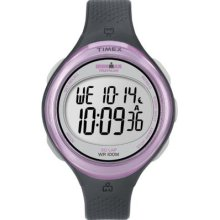 Timex Womens T5k600 Ironman Clear View 30-lap Dark Gray/pink Resin Strap Watch W