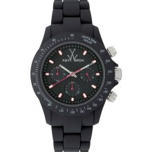 Toy Watch Mens Velvety Chronograph Plasteramic Watch - Black Bracelet - Black Dial - VVC04BK