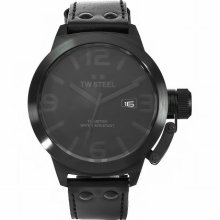 Tw Steel Unisex Quartz Watch With Black Dial Analogue Display And Black Leather Strap Tw822
