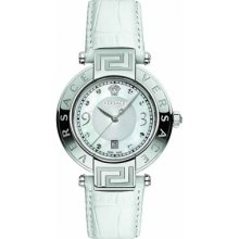 Versace Reve Unisex Quartz Watch With Mother Of Pearl Dial Analogue Display And White Leather Strap 68Q99sd498 S001