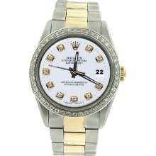 White diamond dial bezel men date just rolex watch SS & gold oyster bracelet