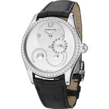 Women's Bressel White Diamond (1.16 ctw) Silver Dial Black Genuin ...