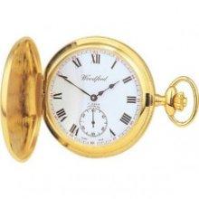 Woodford Full Hunter Swiss Jewel Mechanical Pocket Watch - Gold