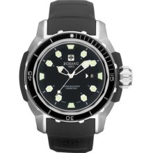 Zodiac ZO8601 Watch ZMX6 Super Sea Wolf Mens - Black Dial Stainless Steel Case Quartz Movement